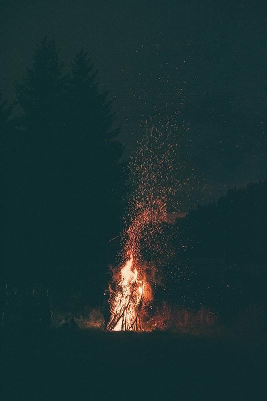 Night campfire.